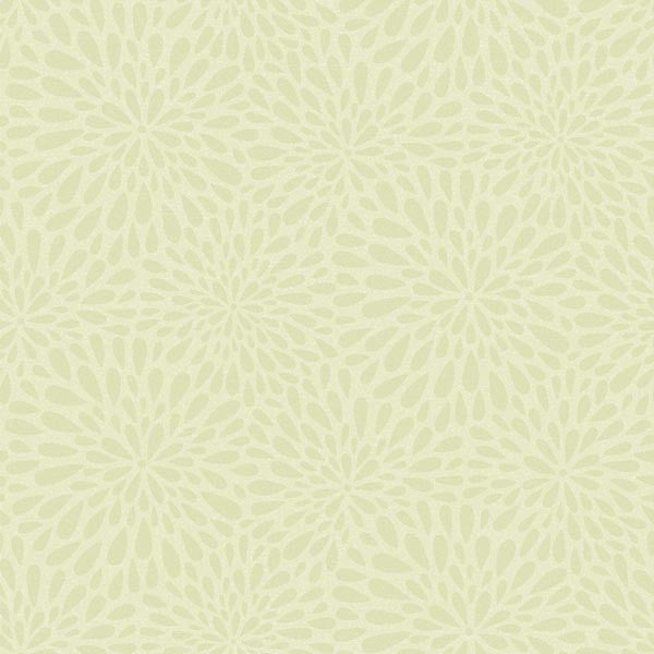 Calendula Green Modern Floral Wallpaper