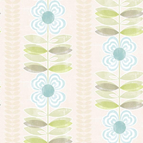 Flora Blue Modern Floral Stripe Wallpaper