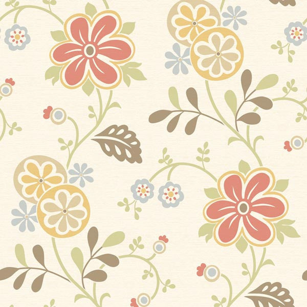 Amelie Red Modern Floral Trail Wallpaper