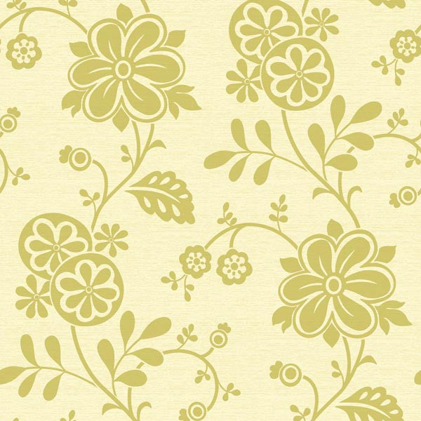 Amelie Green Modern Floral Trail Wallpaper