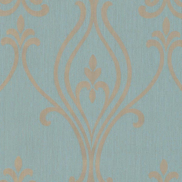 Luca Aquamarine Damask Wallpaper