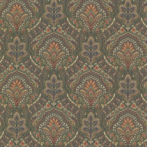 Cypress Sage Paisley Damask Wallpaper