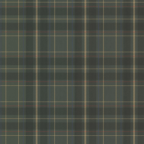 Caledonia Dark Green Plaid Wallpaper