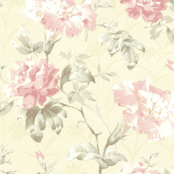 Juliana Champagne Vintage Floral Wallpaper
