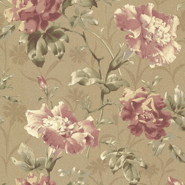 Juliana Bronze Vintage Floral Wallpaper