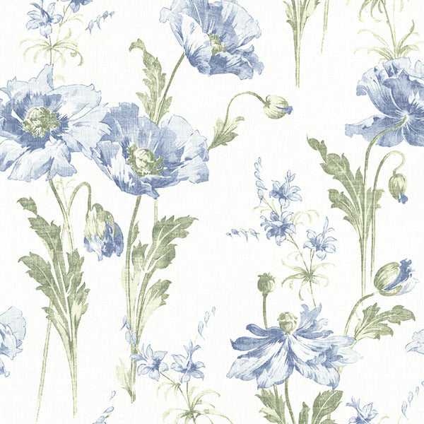 Joliet Blue Floral Wallpaper