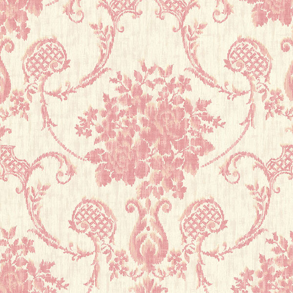 Marais Pink Ikat Damask Wallpaper