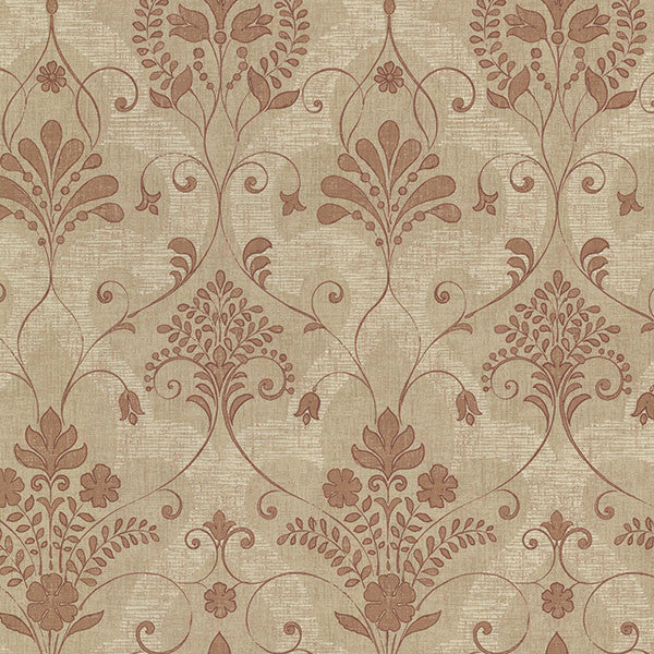 Andalusia Sienna Damask Wallpaper