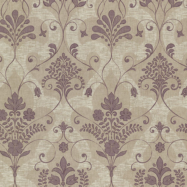 Andalusia Violet Damask Wallpaper
