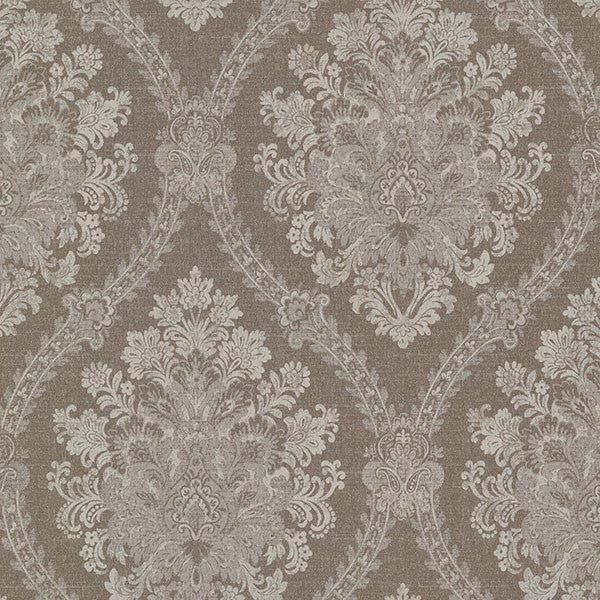 Amarissa Chocolate Jacquard Damask Wallpaper