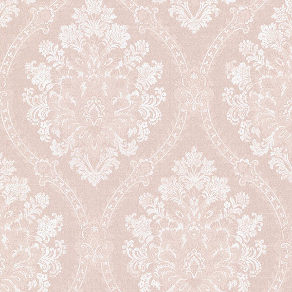 Amarissa Blush Jacquard Damask Wallpaper