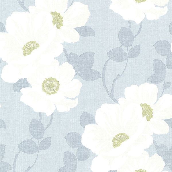 Leala Light Blue Modern Floral Wallpaper