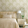 Leala Golden Green Modern Floral Wallpaper