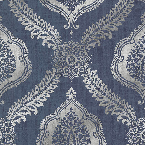 Zoraya Navy Damask Wallpaper