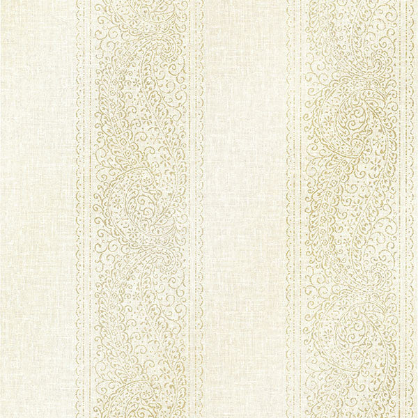 Arcades Light Grey Paisley Stripe Wallpaper