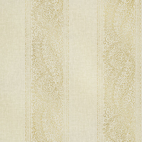 Arcades Beige Paisley Stripe Wallpaper