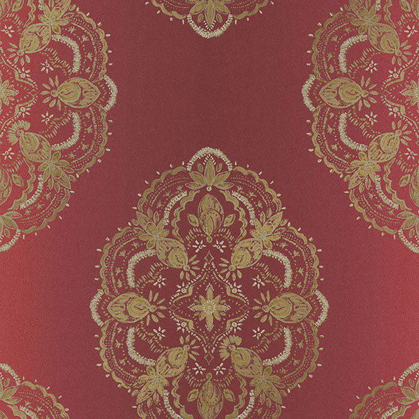 Mirador Burgundy Global Medallion Wallpaper