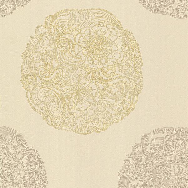 Cordova Taupe Medallion Wallpaper
