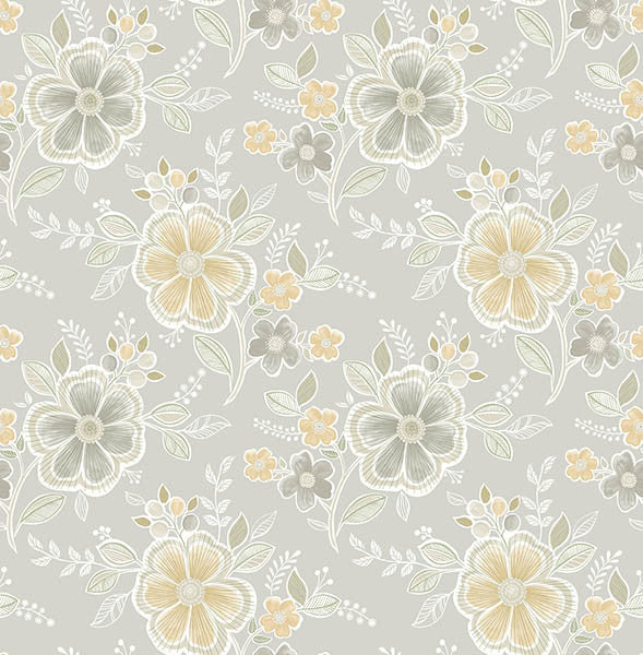 Chloe Honey Floral Wallpaper