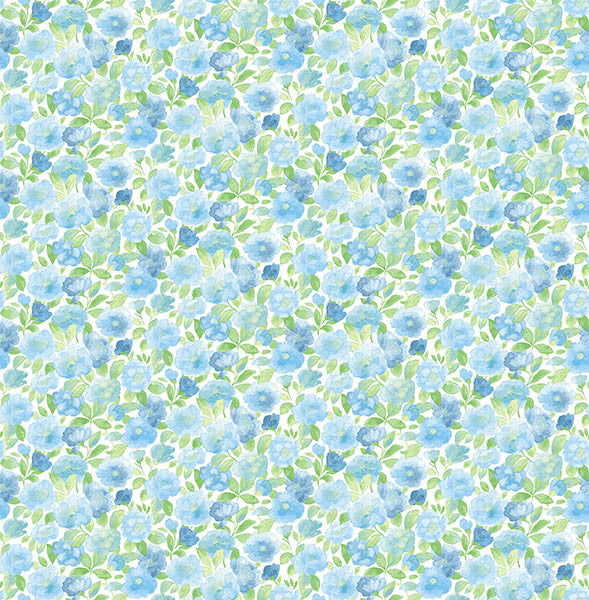 Elsie Sky Blue Floral Wallpaper