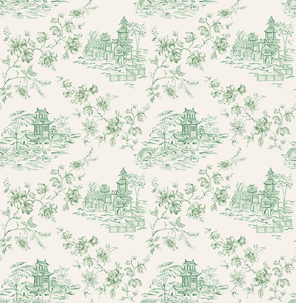 Laure Green Toile Wallpaper