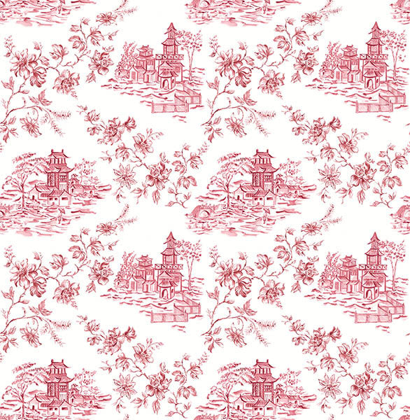 Laure Merlot Toile Wallpaper