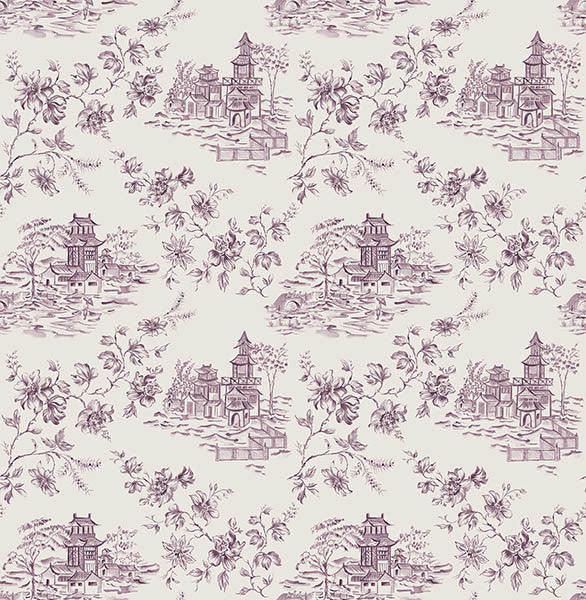 Laure Purple Toile Wallpaper