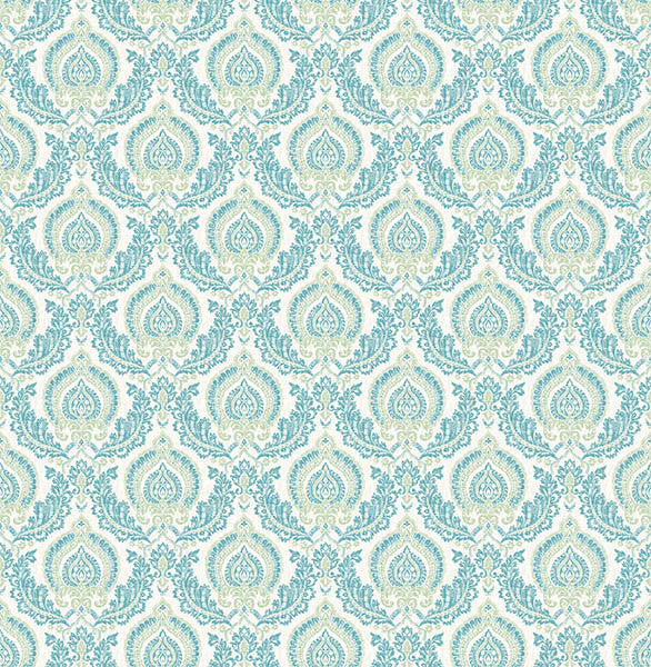 Lulu Green Damask Wallpaper