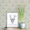 Lulu Dark Green Damask Wallpaper