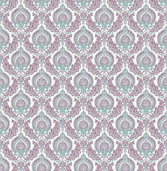 Lulu Plum Damask Wallpaper