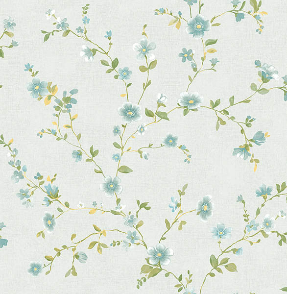 Delphine Light Blue Floral Wallpaper
