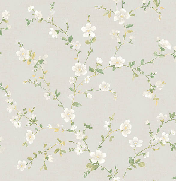Delphine White Floral Trail Wallpaper