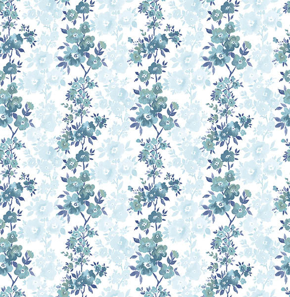 Charlise Blue Floral Stripe Wallpaper
