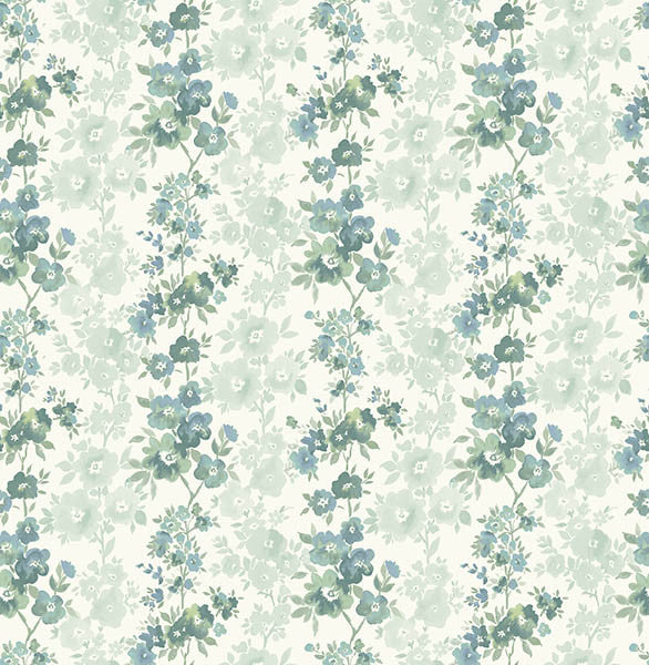 Charlise Teal Floral Stripe Wallpaper