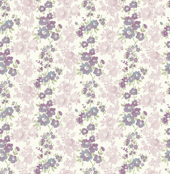 Charlise Plum Floral Stripe Wallpaper