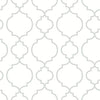 Desiree White Quatrefoil Wallpaper