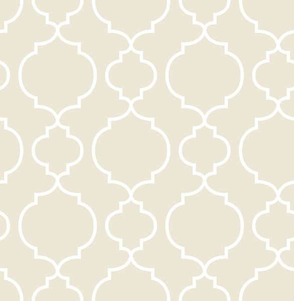 Desiree Taupe Quatrefoil Wallpaper
