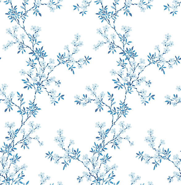 Claire Blue Floral Trail Wallpaper