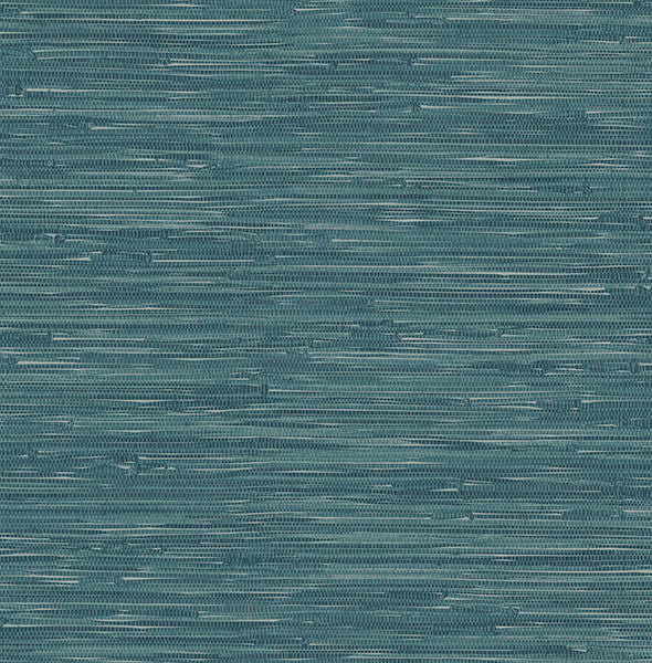 Natalie Teal Faux Grasscloth Wallpaper