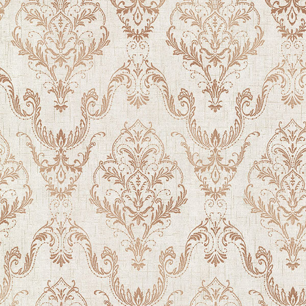Wiley Copper Lace Damask Wallpaper
