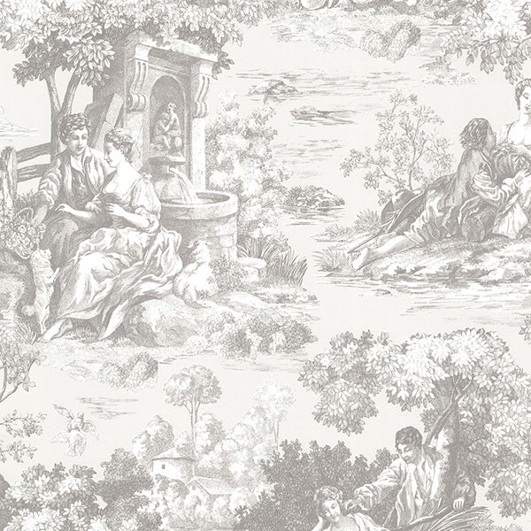 Isabella Grey Toile Wallpaper