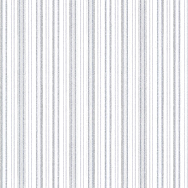 Anne Blue Ticking Stripe Wallpaper