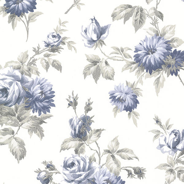 Charlotte Blue Vintage Rose Toss Wallpaper
