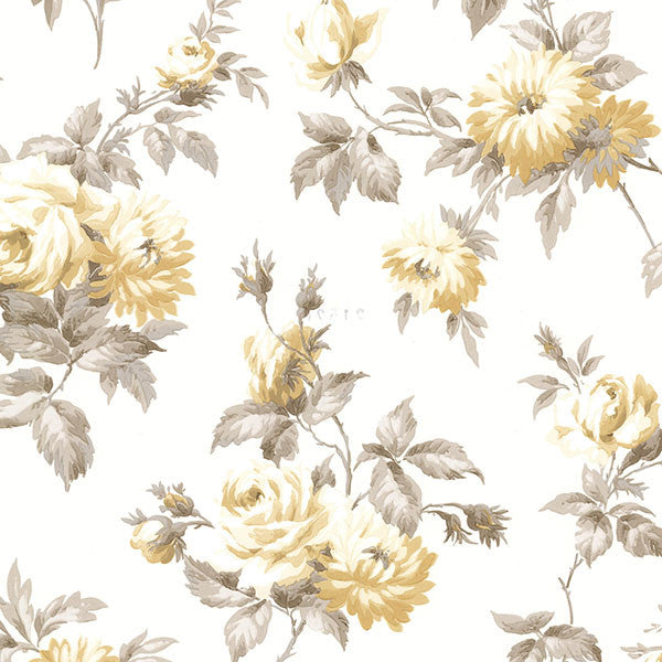 Charlotte Yellow Vintage Rose Toss Wallpaper