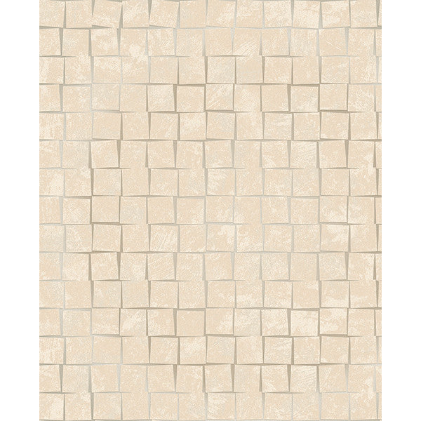 Cubist Taupe Geometric Wallpaper