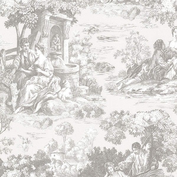 Benvolio Grey Toile Wallpaper