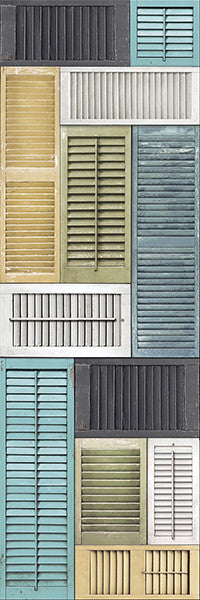Salvaged Shutter Blue Distressed Wood Wall Mural
