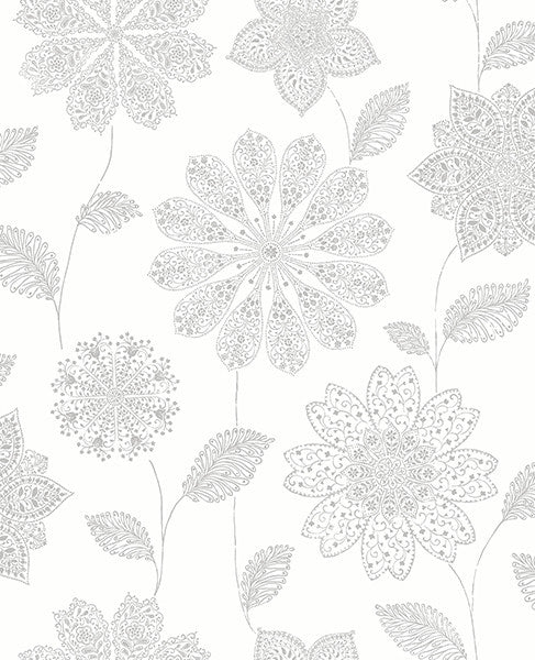 Panache Grey Floral Wallpaper