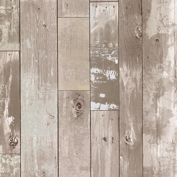 Heim Taupe Distressed Wood Panel Wallpaper