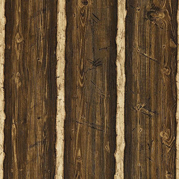 Franklin Dark Brown Rustic Pine Wood Wallpaper